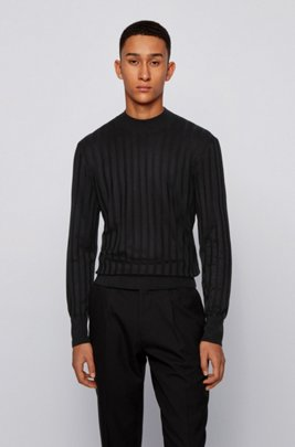 Mock-neck sweater in pure silk with ribbed structure, Black