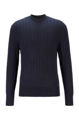 Mock-neck sweater in pure silk with ribbed structure, Dark Blue