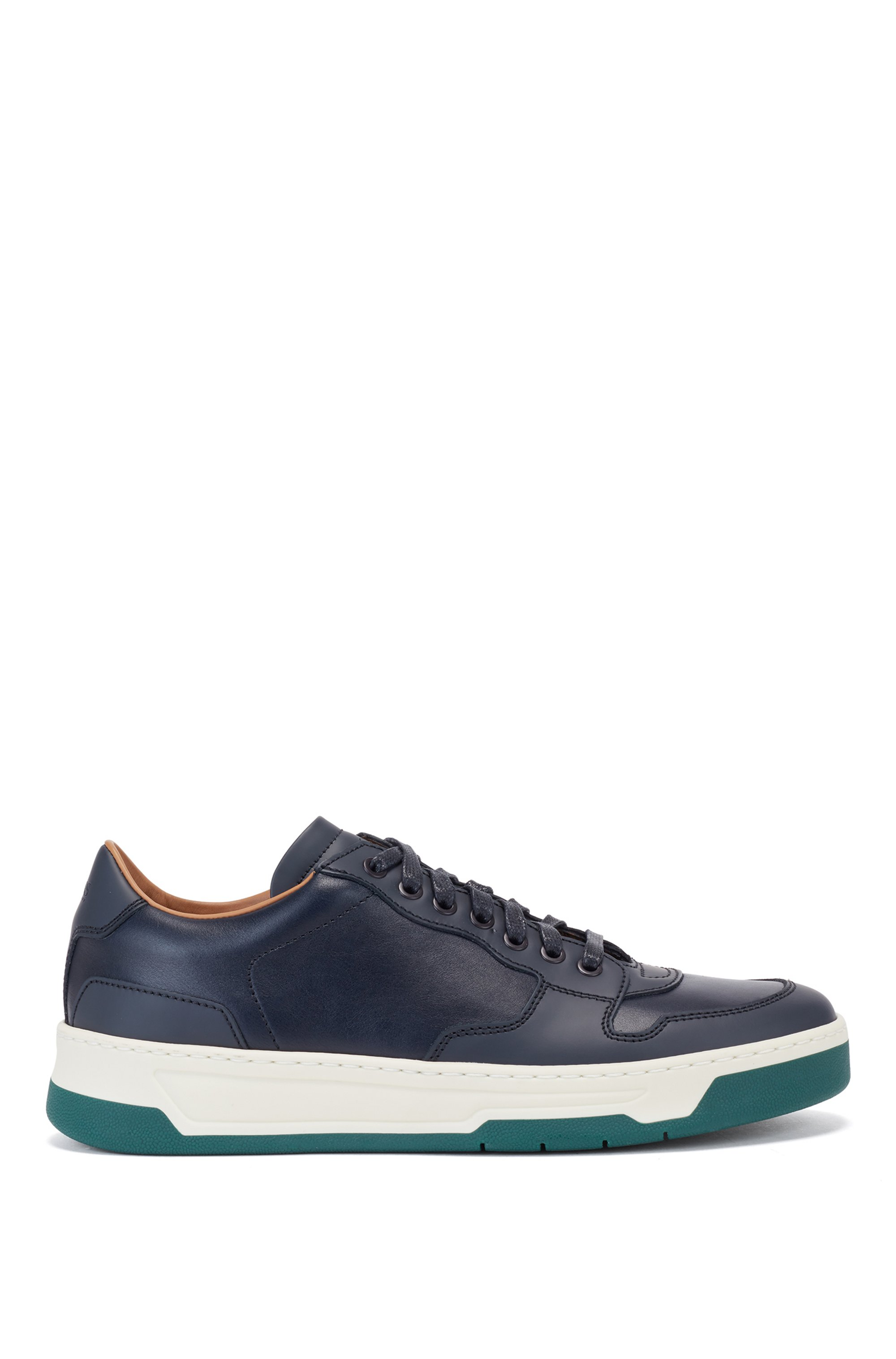 Lace-up cupsole trainers in mixed leathers, Blue