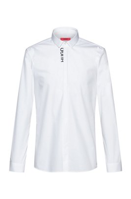 Easy-iron extra-slim-fit shirt with cropped logo, White