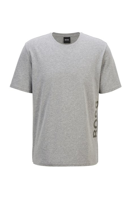 Stretch-cotton pajama T-shirt with vertical logo, Grey
