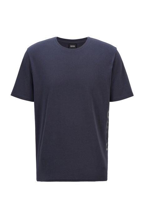 Stretch-cotton pajama T-shirt with vertical logo, Dark Blue