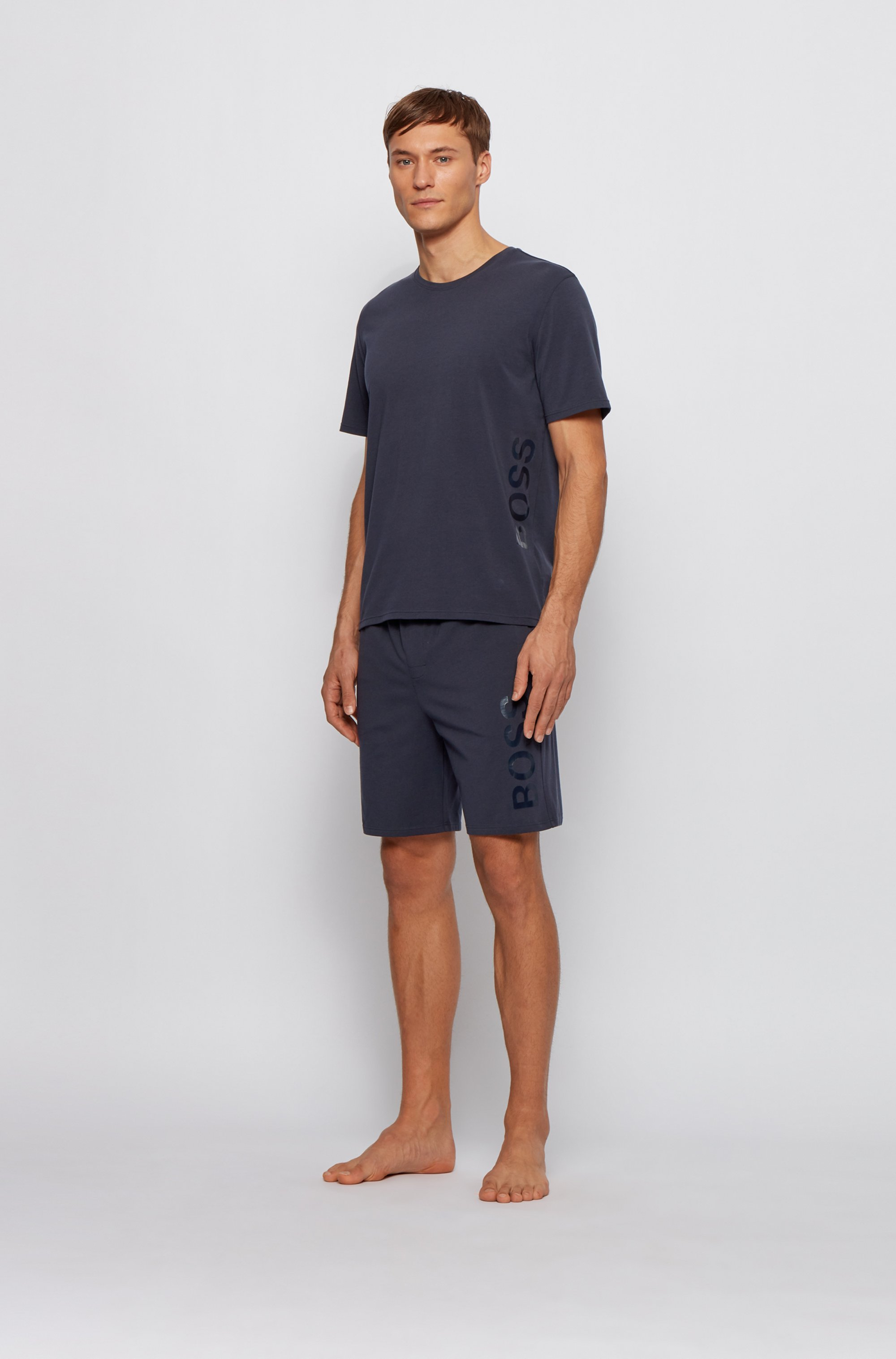 Stretch-cotton pajama T-shirt with vertical logo