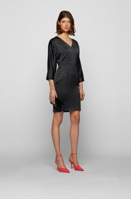 V-neck dress in satin-back crepe with Swarovski® crystals, Black