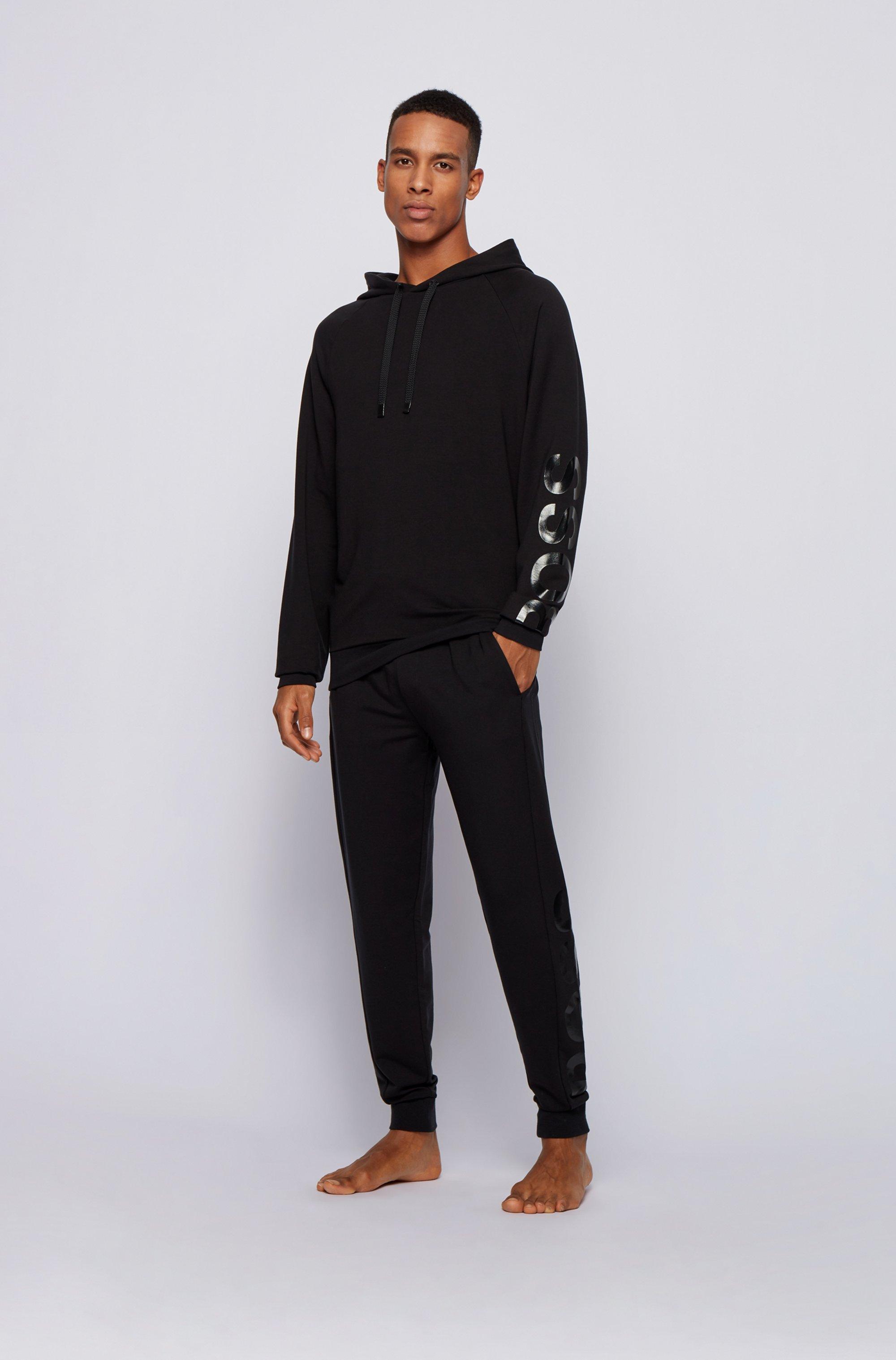 Hooded loungewear sweatshirt with sleeve logo
