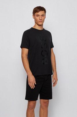 Vertical-logo-print loungewear T-shirt in TENCEL™ Lyocell fabric, Black