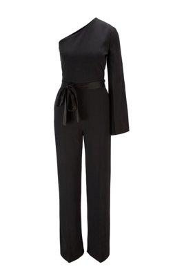 One-shoulder relaxed-fit jumpsuit in satin-back crepe, Black