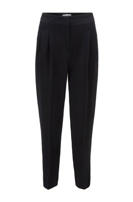 High-waisted regular-fit pants in Japanese crinkle crêpe, Black