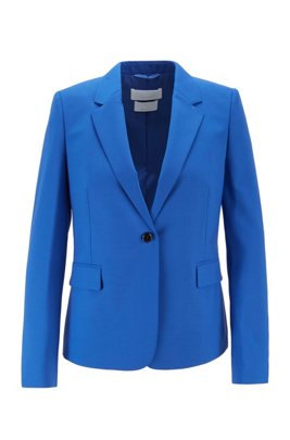 Single-breasted jacket in traceable stretch virgin wool, Light Blue