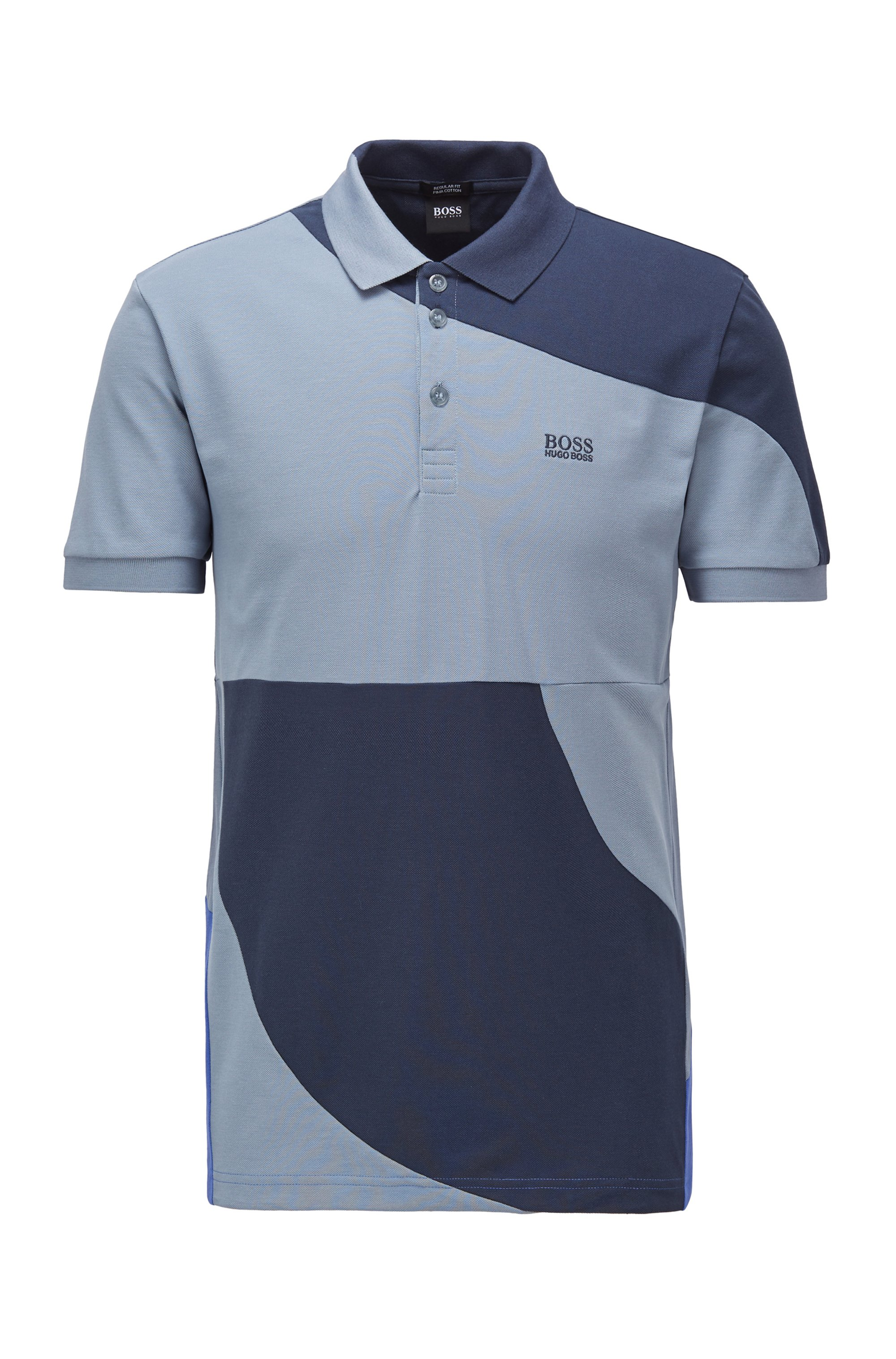 Color-blocked polo shirt in cotton with chest logo, Dark Blue