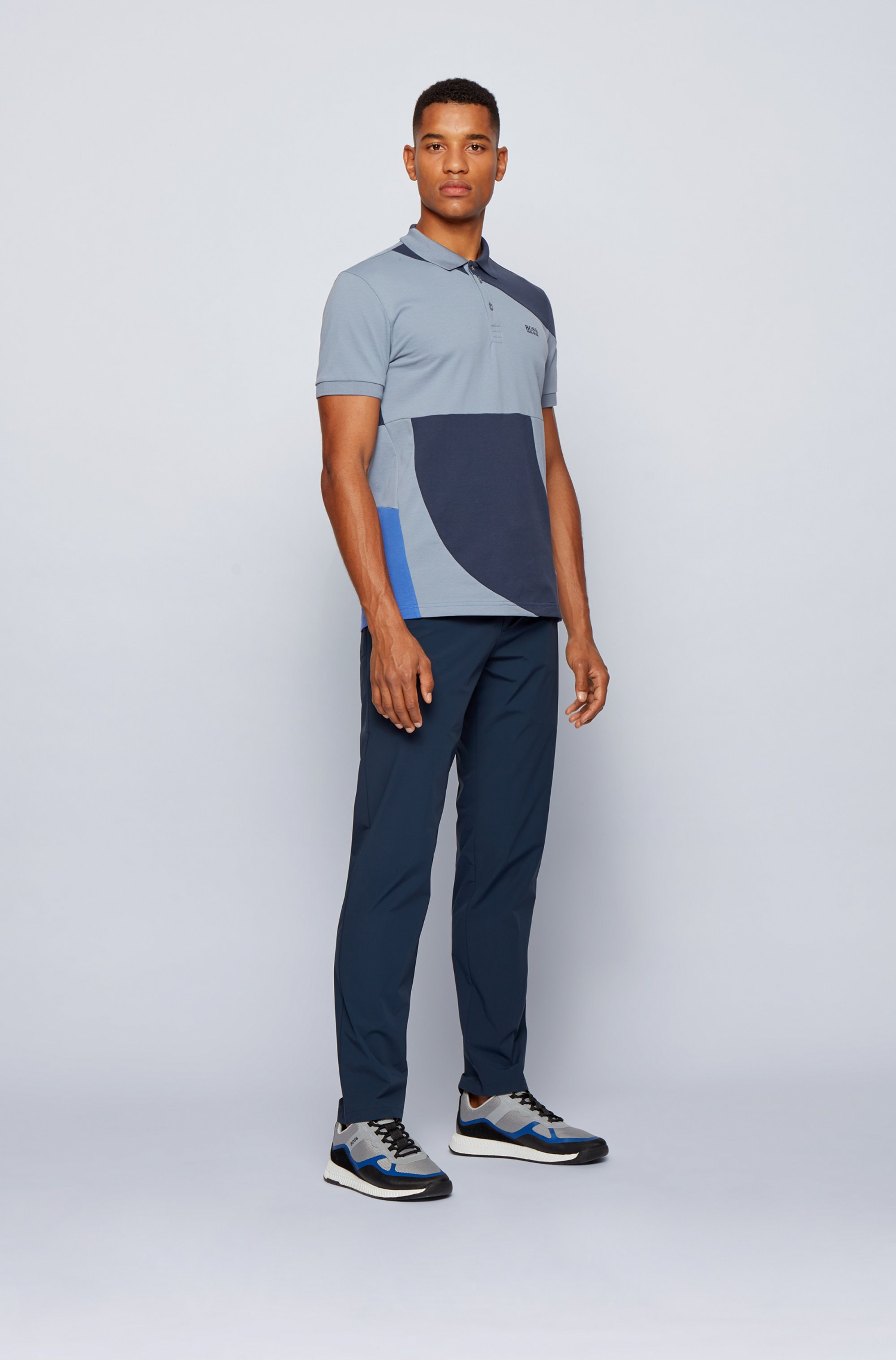 Color-blocked polo shirt in cotton with chest logo