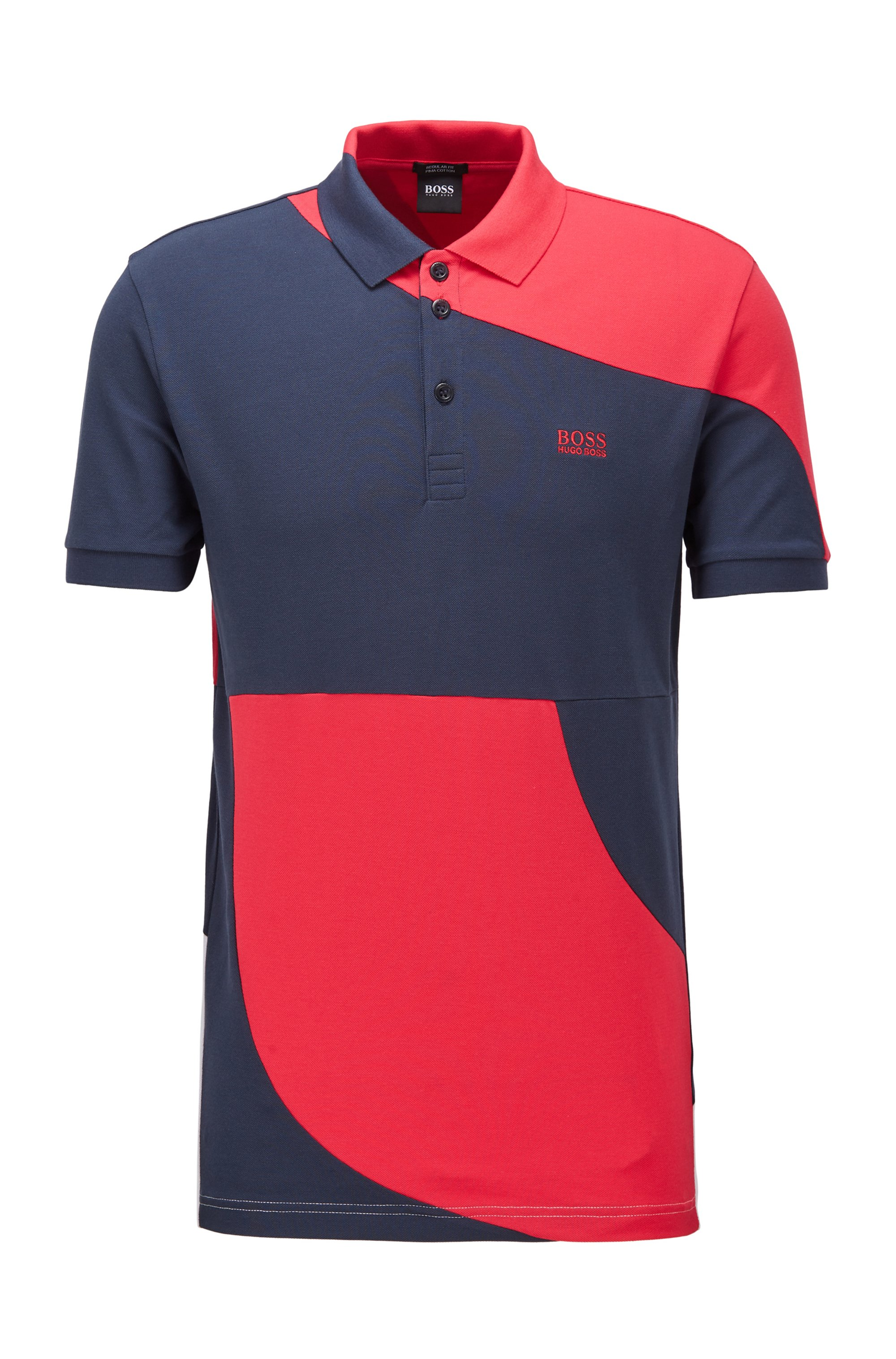 Color-blocked polo shirt in cotton with chest logo, Pink