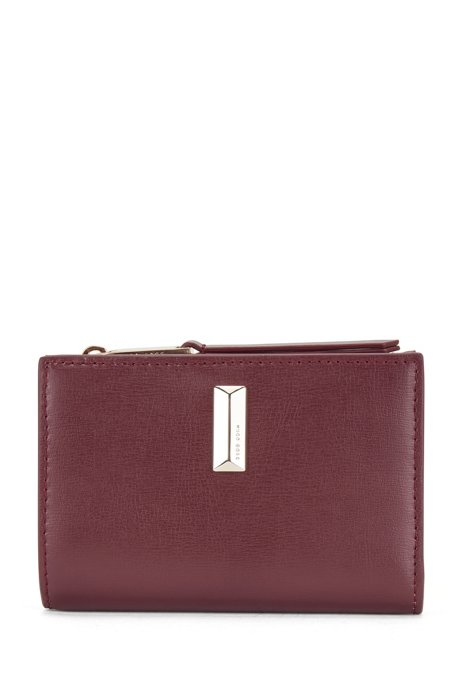 Snap-close wallet in leather with pyramid-shaped hardware, Dark Red