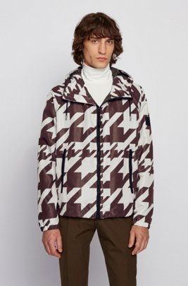Men's Vintage Jackets & Coats Packable windbreaker jacket with all-over motif $545.00 AT vintagedancer.com