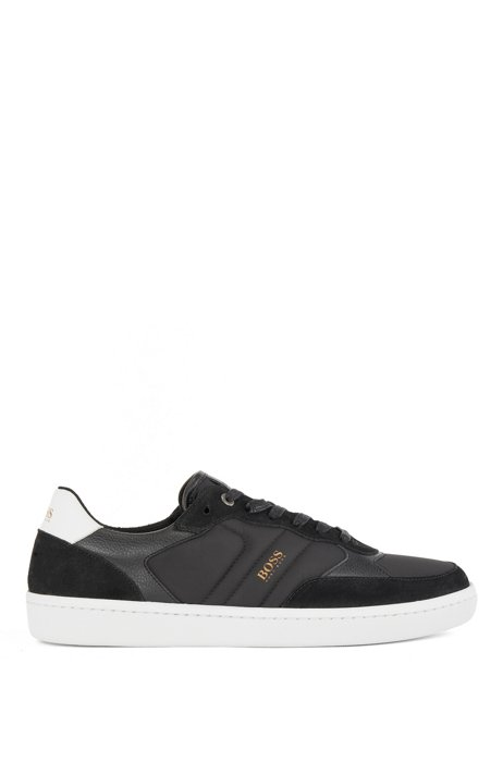Low-top trainers in mixed materials with logo, Black