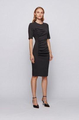 Stretch-wool sheath dress with ruching detail, Black