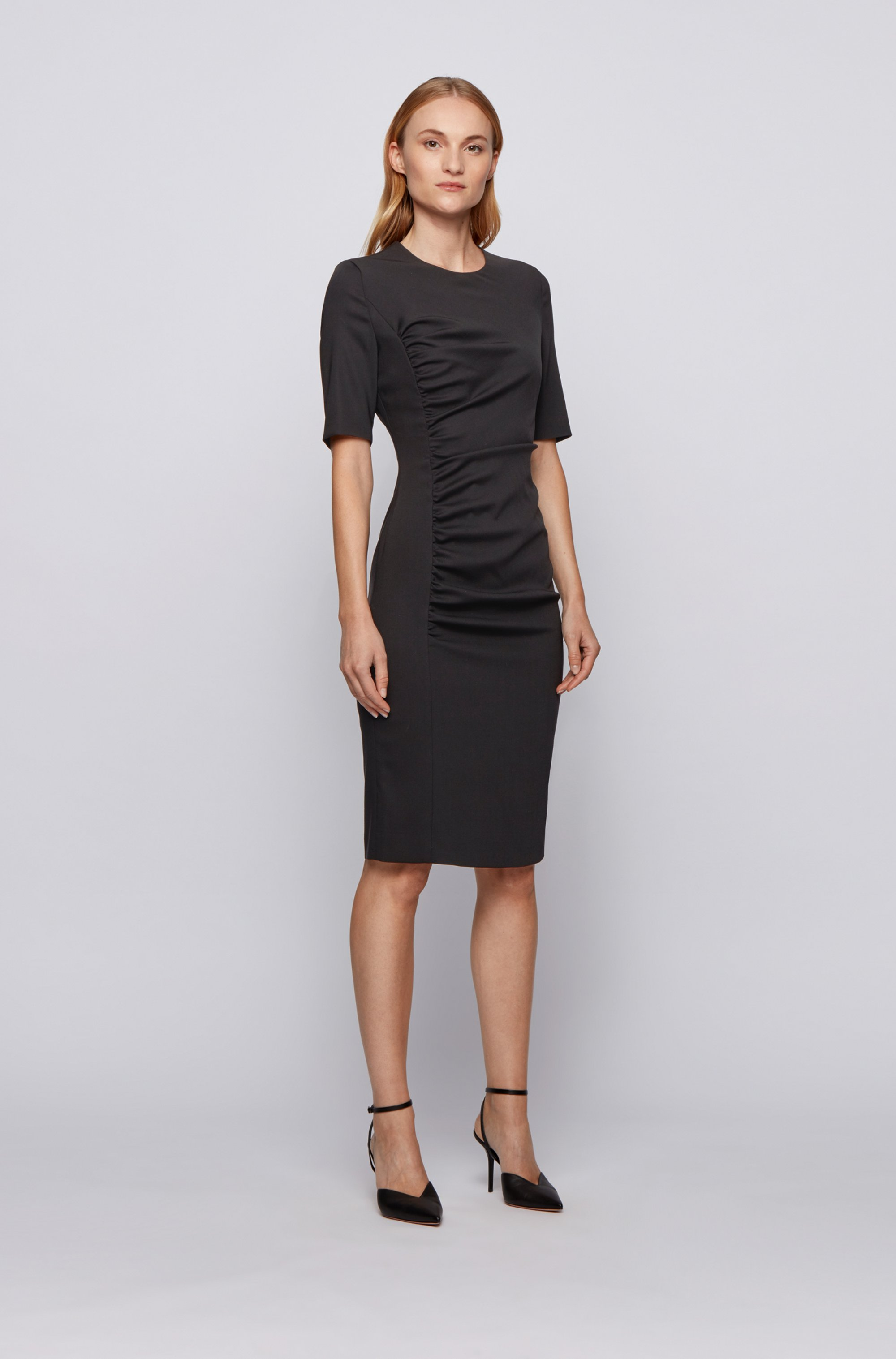 Stretch-wool sheath dress with ruching detail