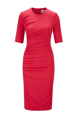 Stretch-wool sheath dress with ruching detail, Pink