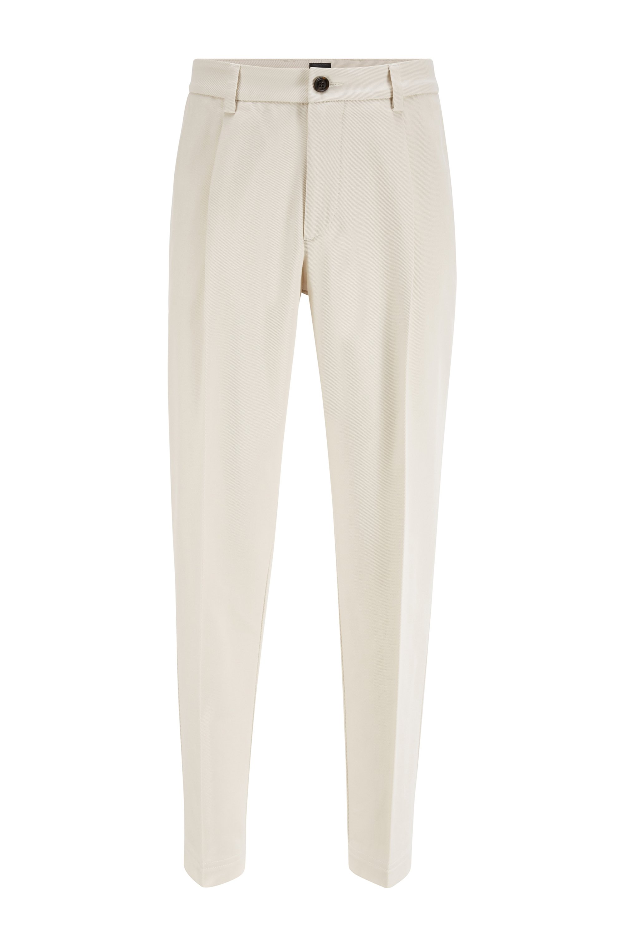 Pleated relaxed-fit pants in an Italian cotton blend, White