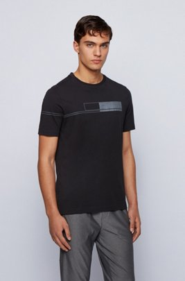 Pure-cotton T-shirt with block-print logo, Black