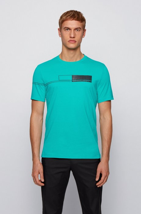 Pure-cotton T-shirt with block-print logo, Green