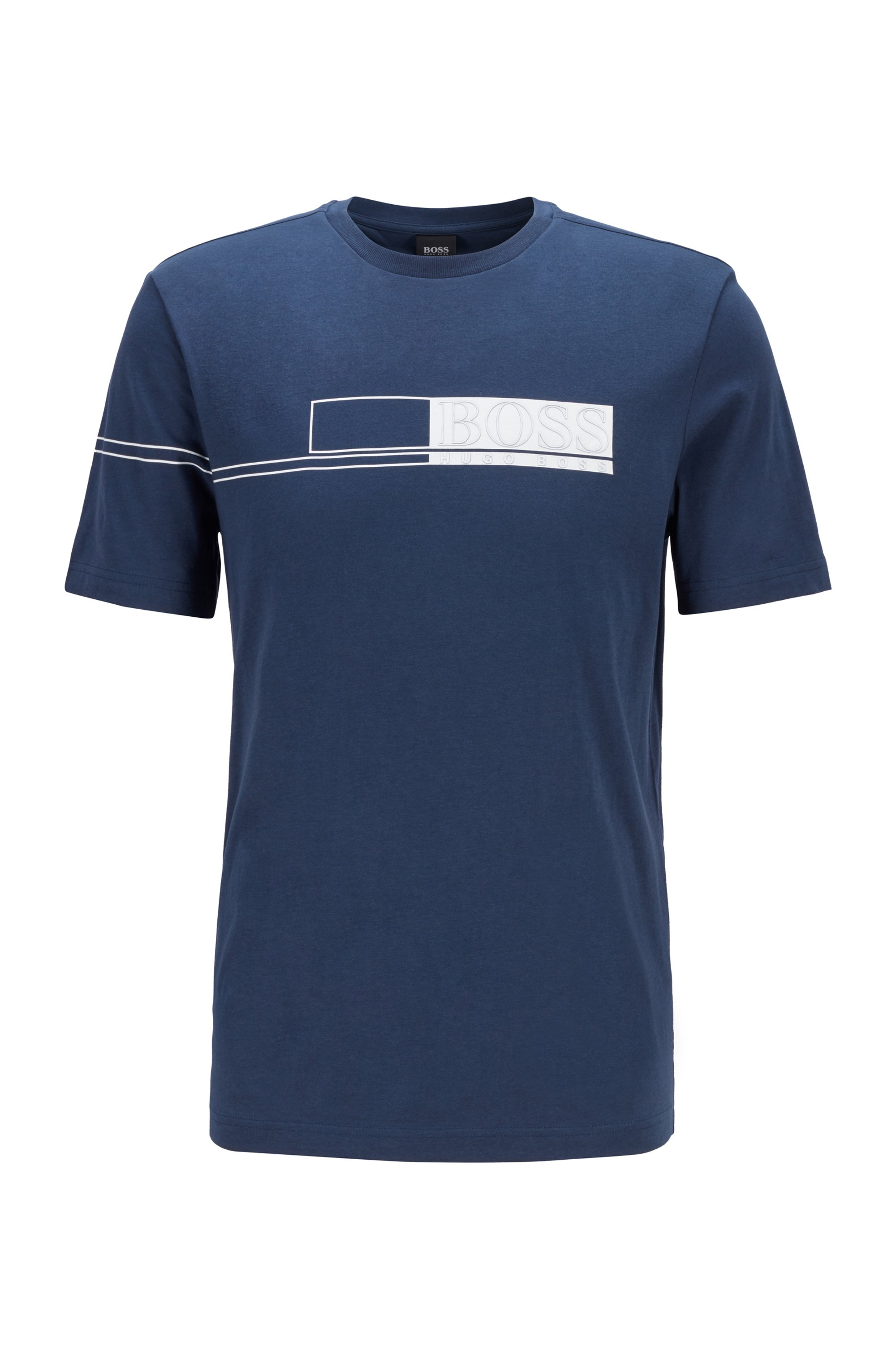 Pure-cotton T-shirt with block-print logo, Dark Blue