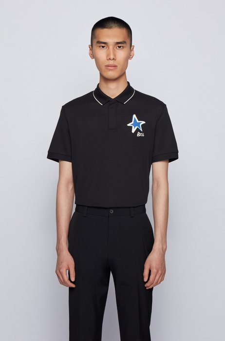 Mercerised-cotton polo shirt with star and logo motifs, Black