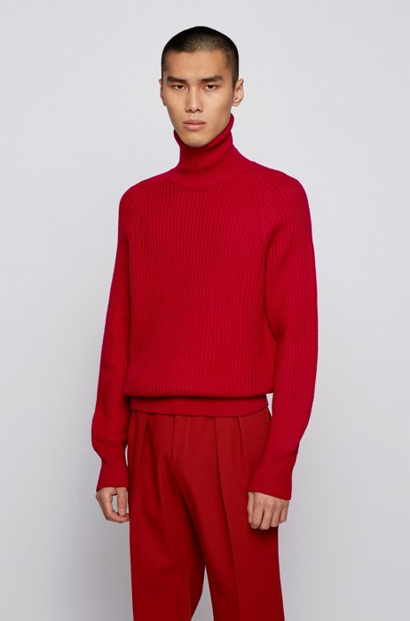 Rollneck sweater in chunky-knit virgin wool, Red