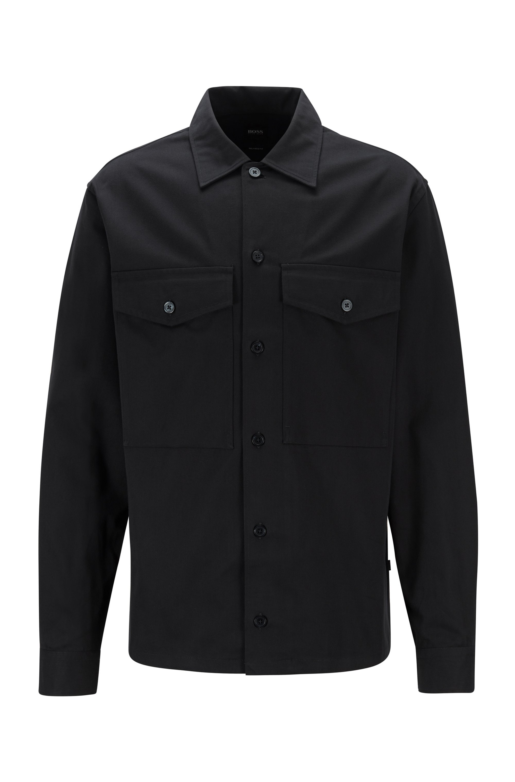 Relaxed-fit overshirt with flap pockets, Dark Blue