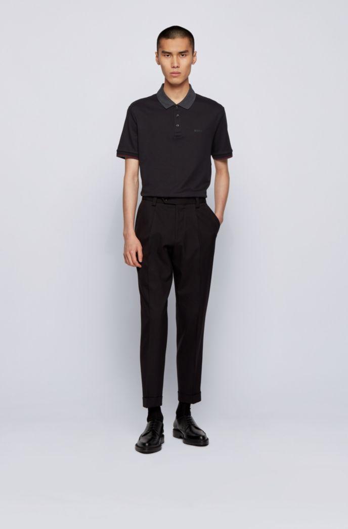 Interlock-cotton polo shirt with contrast collar