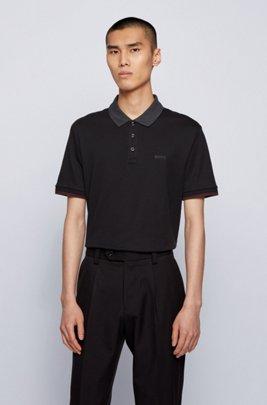 Interlock-cotton polo shirt with contrast collar, Black