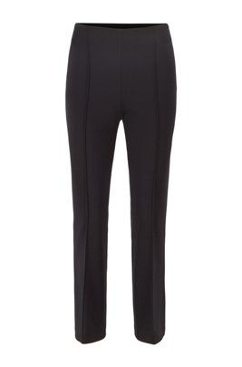 Cropped slim-fit pants in stretch twill, Black