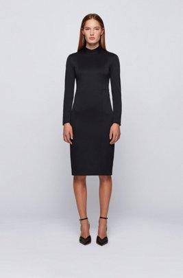 Mock-neck dress with full rear zip, Black