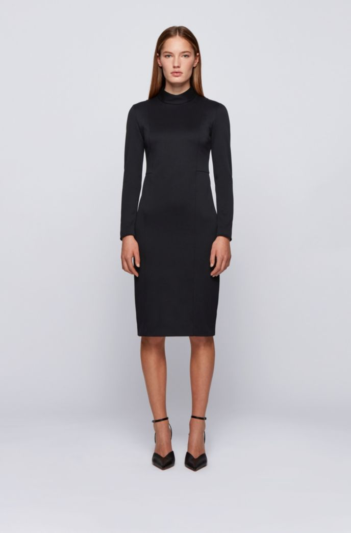 Mock-neck dress with full rear zip
