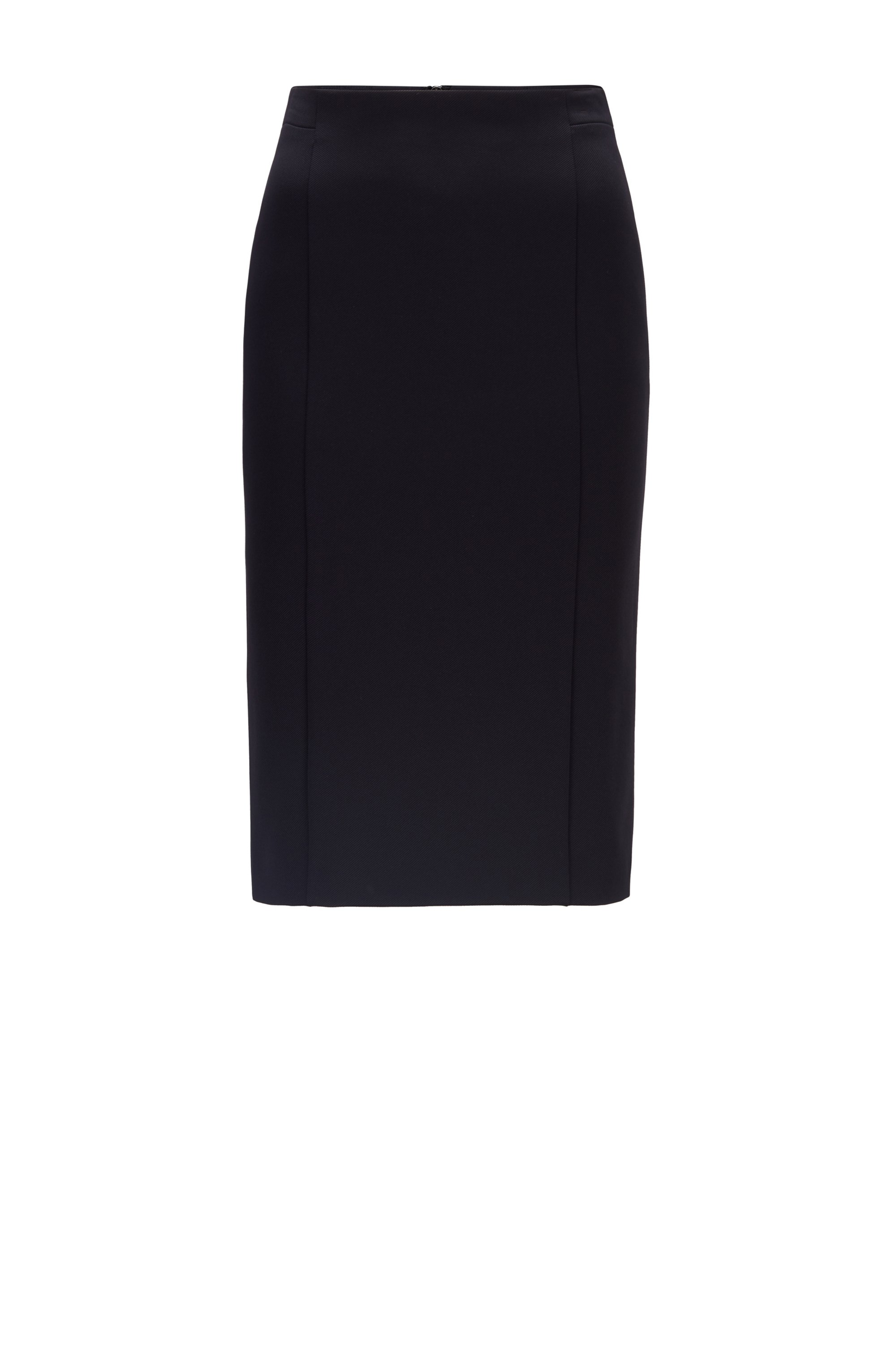 Slim-fit pencil skirt in stretch twill, Black