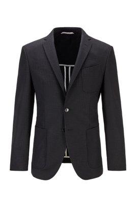Extra-slim-fit jacket with tonal monogram pattern, Black