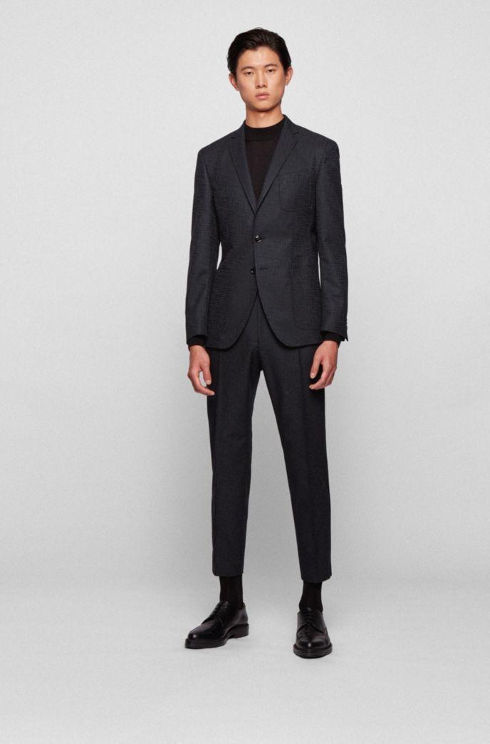 Extra-slim-fit jacket with tonal monogram pattern