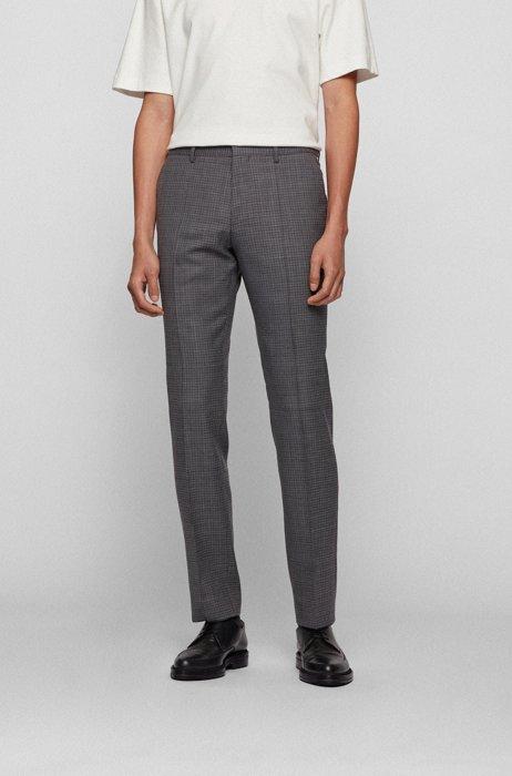 Slim-fit pants in plain-check virgin-wool serge, Light Grey