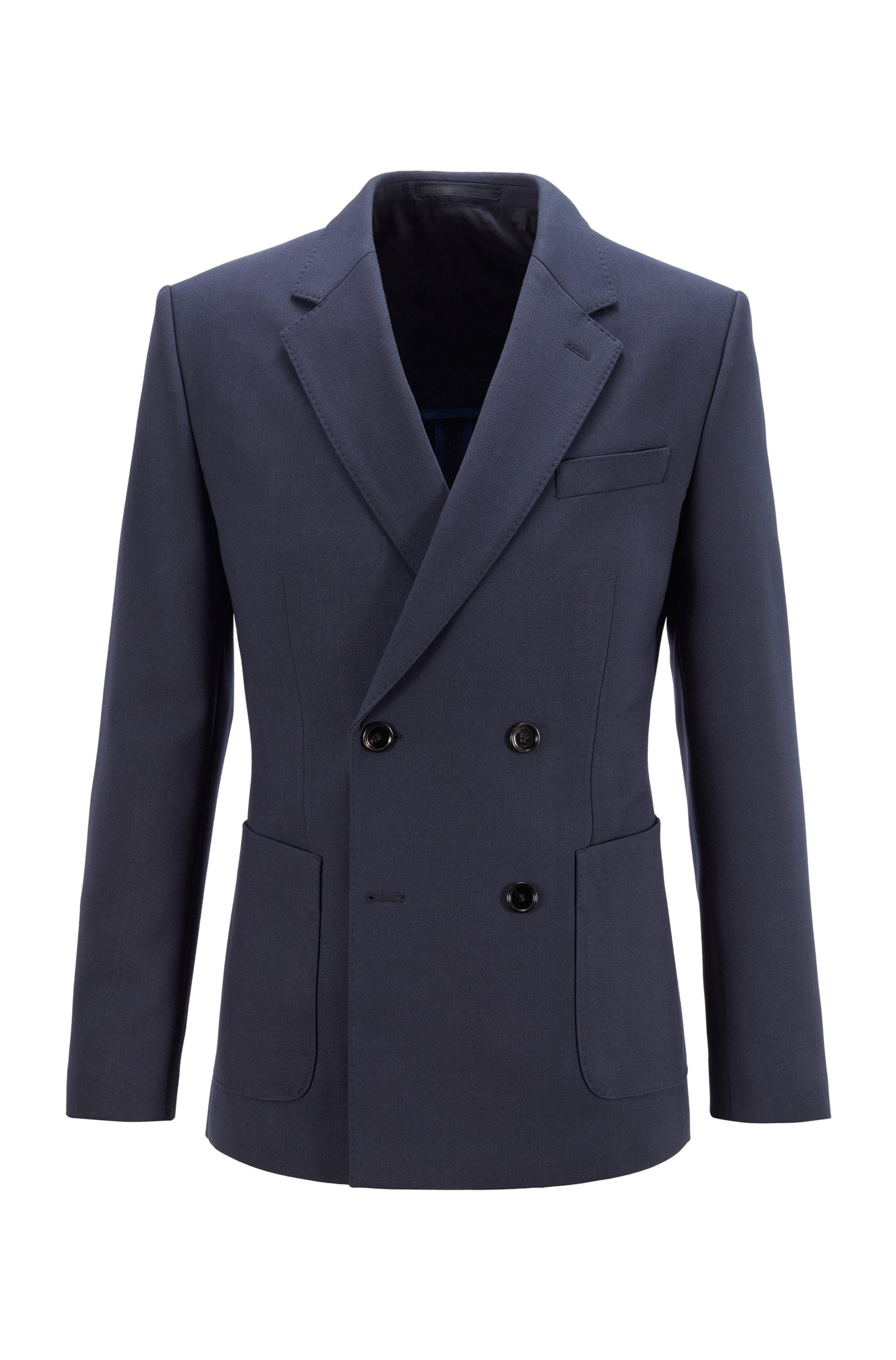 Double-breasted jacket in stretch cloth, Dark Blue