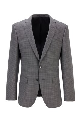 Slim-fit jacket in plain-check virgin-wool serge, Light Grey