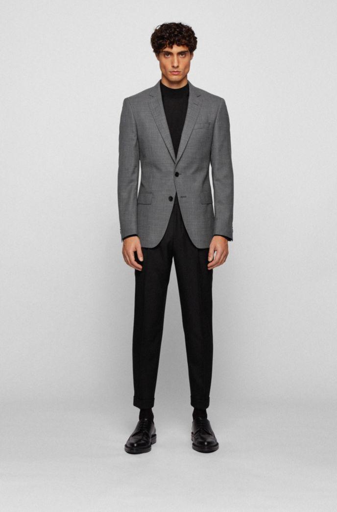 Slim-fit jacket in plain-check virgin-wool serge
