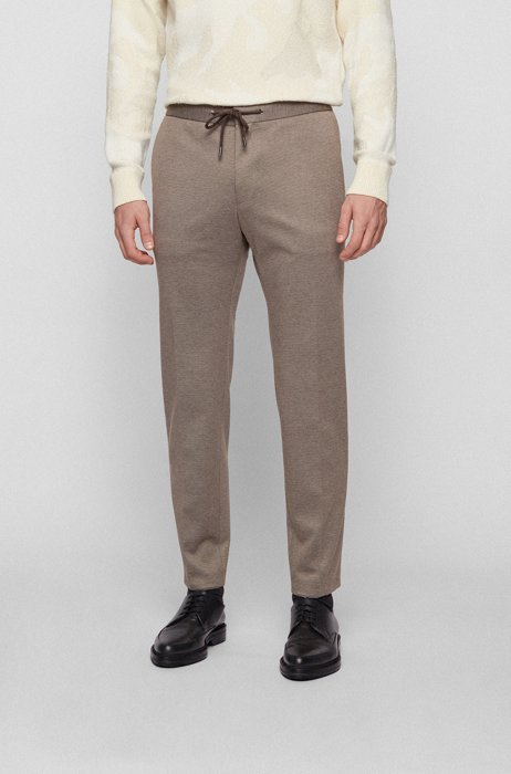 Slim-fit pants in micro-patterned stretch fabric, Light Beige