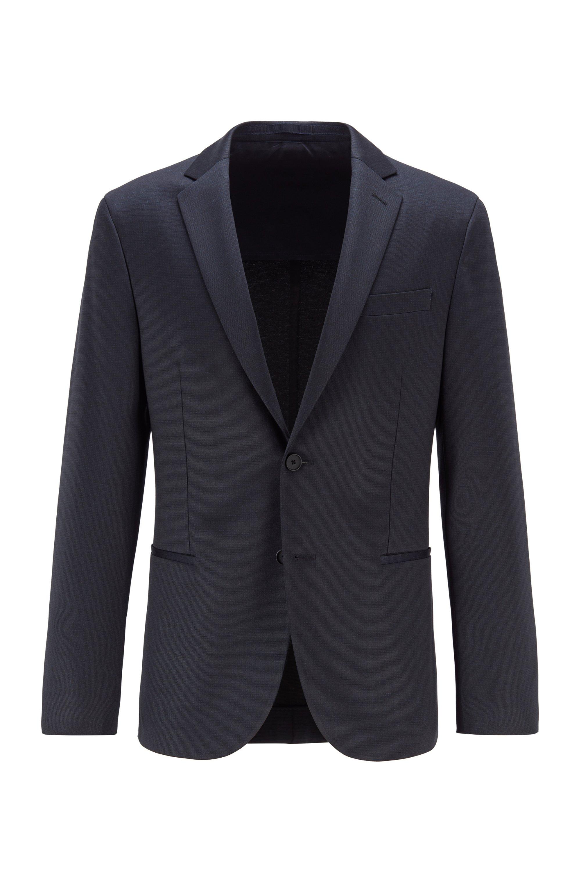 Slim-fit jersey jacket with micro pattern, Dark Blue