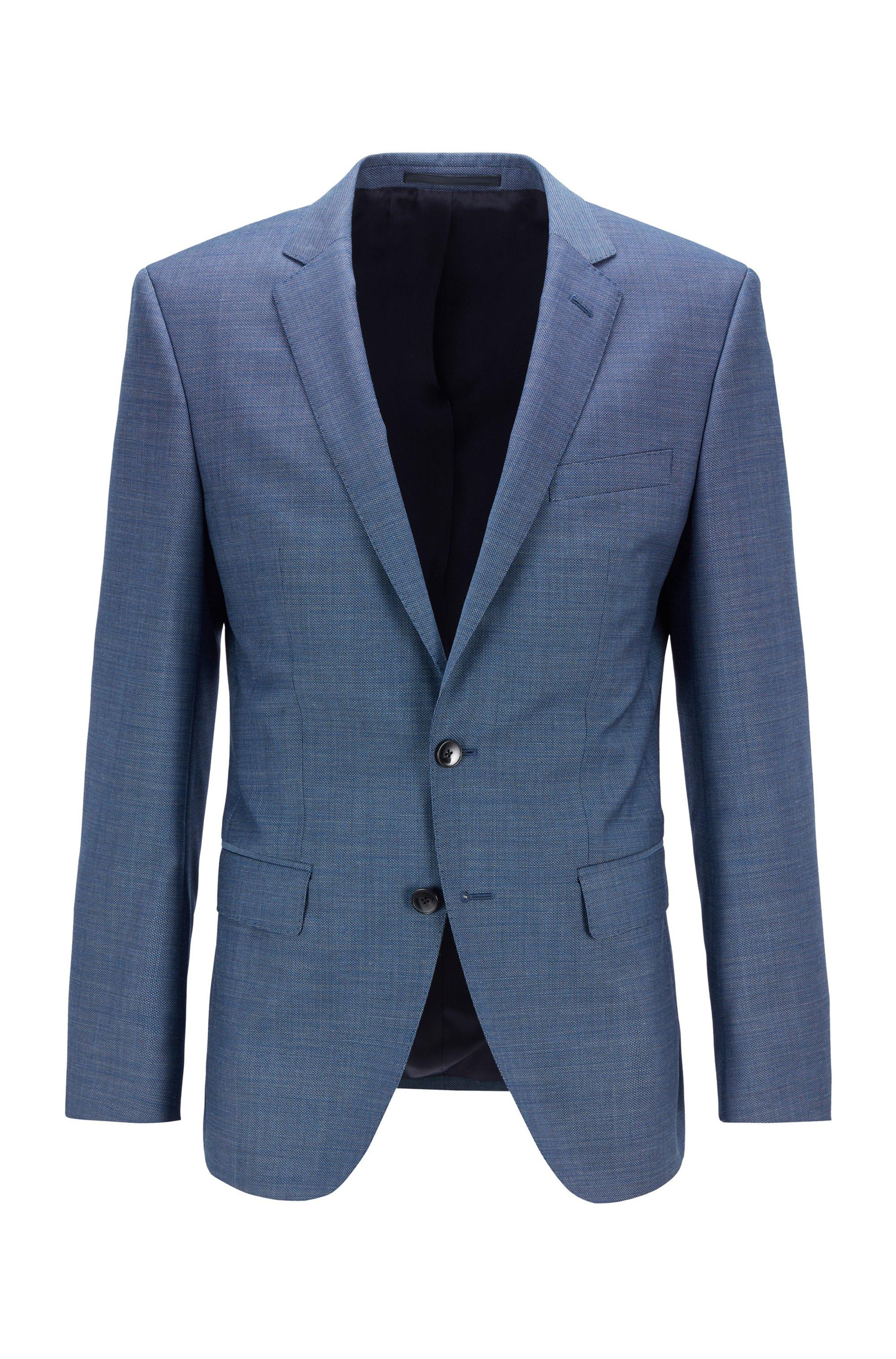 Slim-fit jacket in micro-patterned virgin wool, Dark Blue