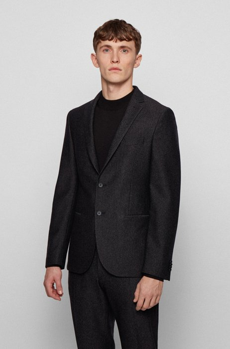 Slim-fit jacket in micro-patterned stretch jersey, Black