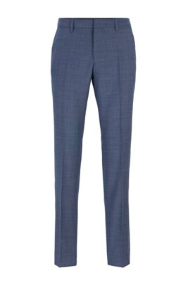 Slim-fit pants in micro-patterned virgin wool, Dark Blue