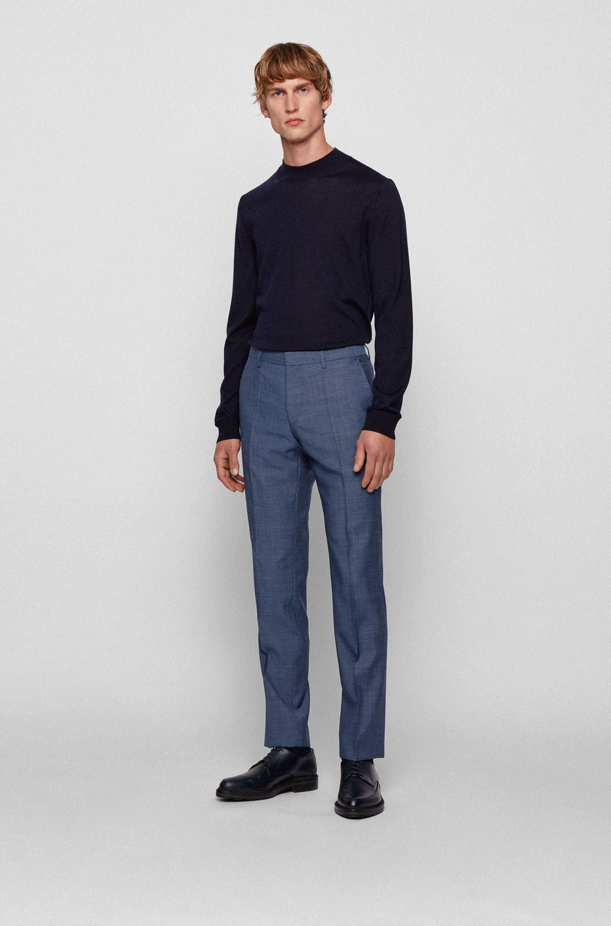 Slim-fit pants in micro-patterned virgin wool