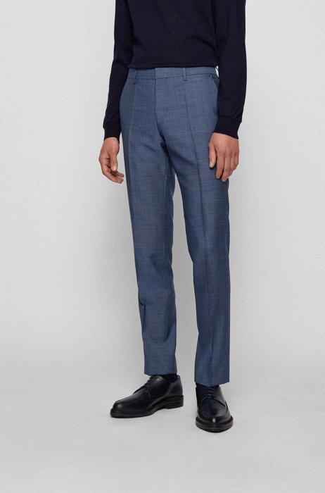 Slim-fit pants in micro-patterned virgin wool, Dark Blue
