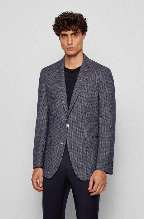 Slim-fit jacket in a patterned stretch-cotton blend, Dark Blue