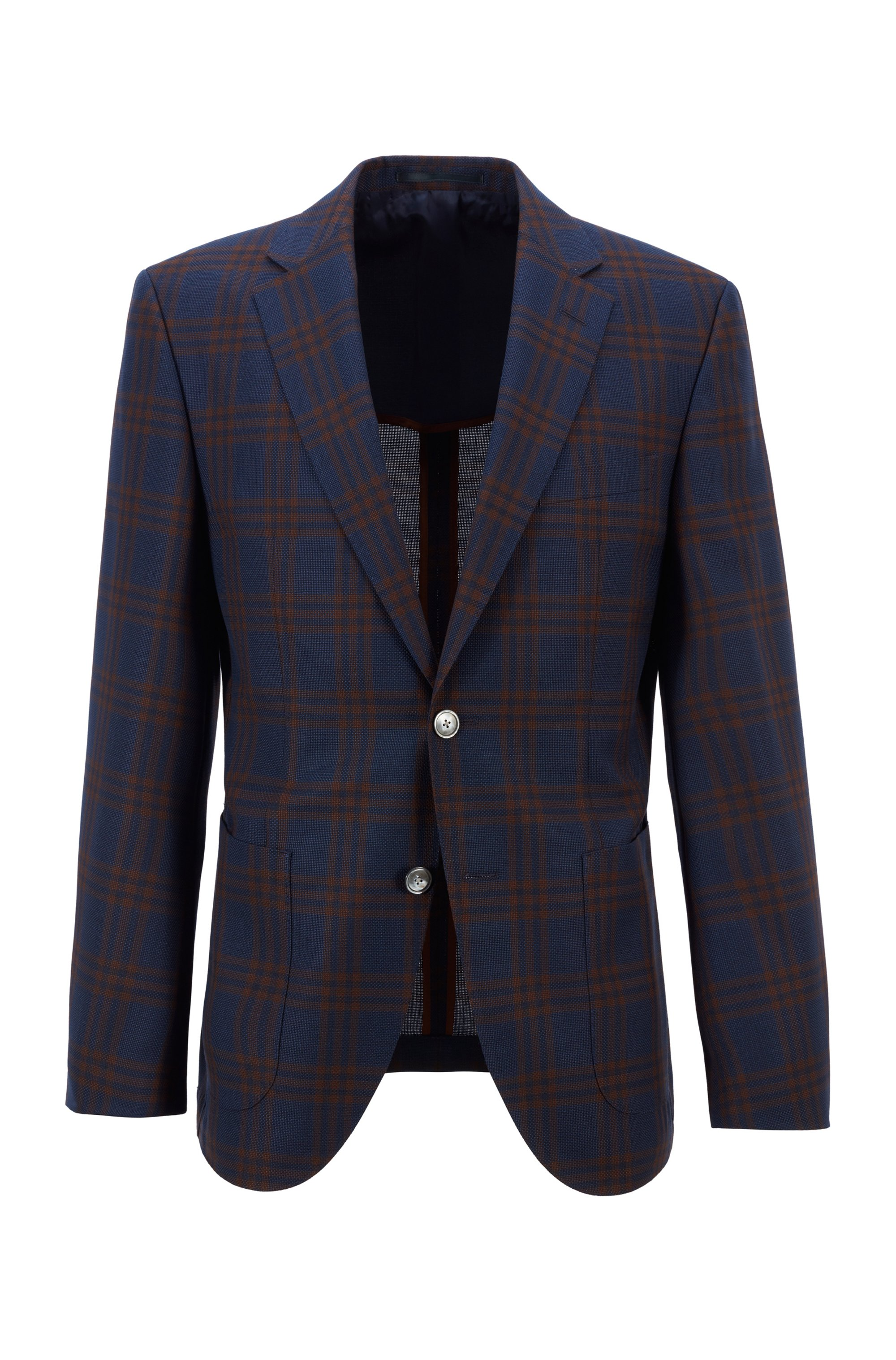 Regular-fit jacket in checked virgin-wool serge, Brown